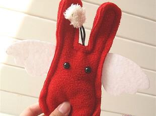 特!DIY手工疯果系列 可爱天使翅膀兔拉扣钟罩式 钥匙扣钥匙包,玩偶,
