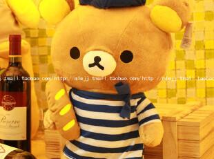 海军轻松熊公仔松弛熊面包轻松小熊Rilakkuma毛绒玩具女生日礼物,玩偶,