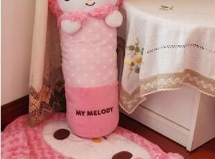 日单melody玫瑰绒拧花粉色家居4件套 拖鞋+抱枕+地垫+纸巾盒套,玩偶,