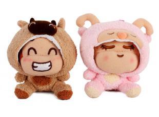 悠嘻猴9毛绒挂件超级变变变- 牛和羊,玩偶,