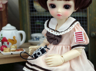 【Amors】BJD娃衣/洋装/SD娃娃衣服/1/6水手宝宝服(粉色短袖)现货,玩偶,