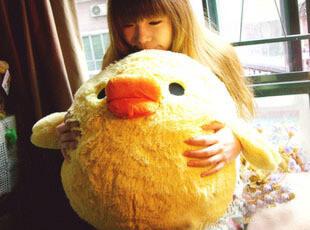日本 轻松小熊 轻松熊 小黄鸡 鼻孔鸡毛绒大号公仔 抱枕 生日礼物,玩偶,