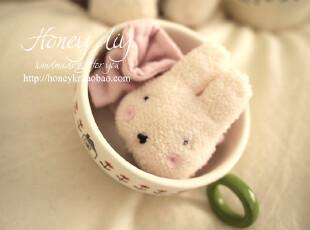 韩国品牌 honeyDIY 粉兔子婴儿手腕摇铃玩具 宝宝摇铃(非成品),玩偶,