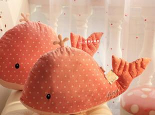美丽说 儿童节礼物蓝白正品可爱鲸鱼毛绒玩具公仔情侣抱枕,玩偶,