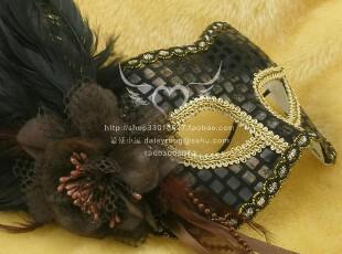 正品威尼斯面具/高档羽毛面具/黑色舞会面具-黑色妖姬yl005,玩偶,
