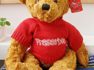 正版限量款RUSS毛绒玩具泰迪熊TEDDY穿红毛衣公仔七夕情人节礼物,玩偶,