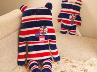 日本CRAFT梨花条纹熊波点英国国旗公仔抱枕靠垫毛绒玩具,玩偶,
