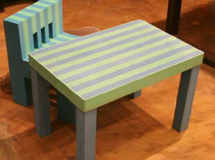 Fers' 环保无味依维艾条纹儿童防撞安全桌 学习桌 书桌 玩具桌,玩偶,