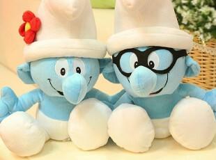 米西公主 正版蓝精灵 蓝爸爸妹妹 聪聪 毛绒玩具 蓝精灵 公仔,玩偶,