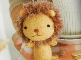 材料包 小狮子 羊毛毡戳戳乐 DIY玩偶 手工 不织布 手机链 满包邮,玩偶,