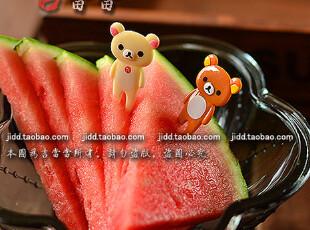 最新日本官网Rilakkuma轻松熊 超可爱迷你水果叉/食物叉 餐具套装,玩偶,