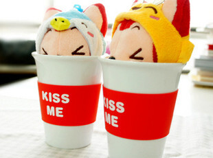 官方正版新款 阿狸立体造型陶瓷杯 kissme水杯带盖杯子情人节礼物,玩偶,