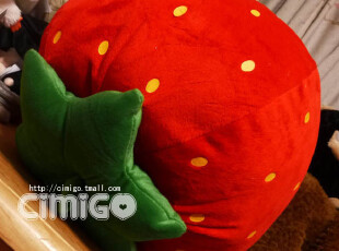 西米果 超级粉嫩大草莓 可爱卡通抱枕靠垫毛绒玩具 水果公仔,玩偶,