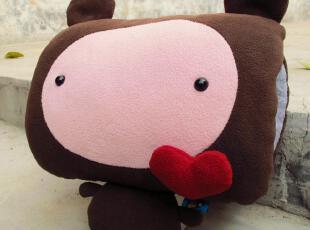 【创意站】PLUMO原创冬萌可爱沃大脸 深咖啡暖手捂暖手宝靠垫玩偶,玩偶,