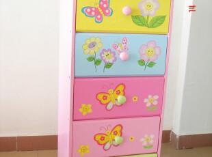 儿童家具床头柜*收纳柜*卡通五抽柜*儿童衣柜*蝴蝶花朵环保时尚,玩偶,