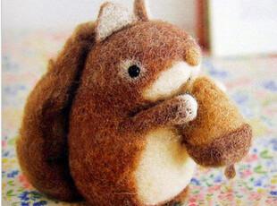材料包 松鼠 羊毛毡戳戳乐 DIY玩偶动物 手工 不织布 摆件 满包邮,玩偶,