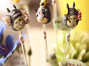 日本花园 龙猫totoro高级树脂手绘花盆装饰 花插 搅拌棒 30款随机,玩偶,