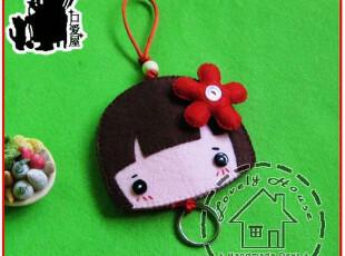 不织布材料包:短发女孩钥匙套 B12,玩偶,
