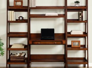 简约家用电脑桌美式电脑架书架宜家组合办公桌写字台,电脑桌,
