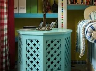 美式乡村花架 地中海电话桌 蓝色床头柜 实木边几 定制家具,电脑桌,