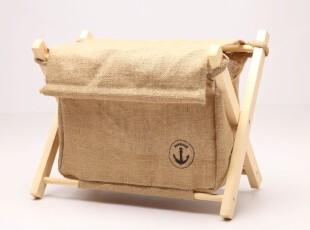 黄麻木架带盖子收纳筐 木架可折叠桌面杂物整理盒 书架杂志整理箱,电脑桌,