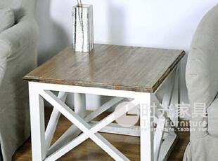 新品混搭!出口外贸美式欧式乡村风双色彩色实木茶几方几咖啡桌几,电脑桌,
