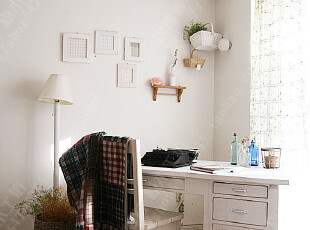 面朝大海—地中海家具 复古田园书桌/实木电脑桌 乡村白色做旧,电脑桌,