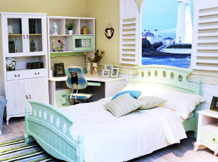 地中海儿童卧房家具 浅绿色 实木做旧 1.5米床 敞门衣柜 转角书桌,电脑桌,