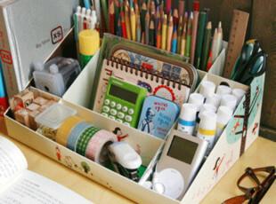 艺术蜗居 DIY收纳盒 韩国折叠桌面整理盒收纳盒化妆品储物盒9格,电脑桌,