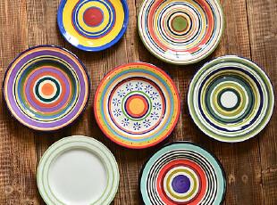 江南生活|手绘餐具|多款7-8.5寸平盘|西餐盘|可做装饰盘或挂盘 圈,盘碟,