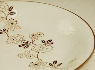 有乐式 外贸出口日式和风 手绘蔷薇枝蔓 餐盘装饰盘果盘,盘碟,