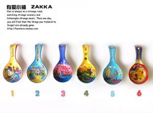 【有爱小铺】 杂货zakka 家居 手绘欧洲城市风 陶瓷勺型盘 有瑕疵,盘碟,