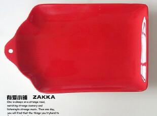 【有爱小铺】 zakka杂货 家居 正红色陶瓷方盘餐盘,盘碟,