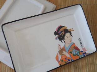 外贸陶瓷 盘子寿司盘 和风 日本和服 美女 点心盘 日韩料理必备,盘碟,