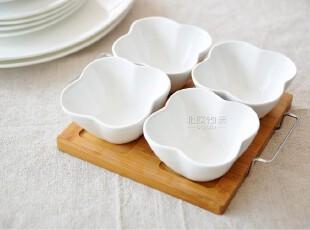 [宜家风]北村穗陶瓷日式调味碟调料碟带竹托盘 佐料酱油醋碟5件套,盘碟,