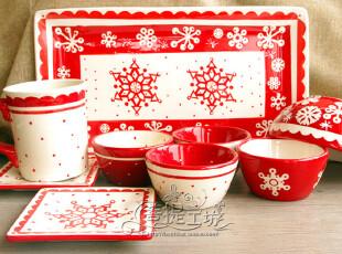 外贸手绘陶瓷 HOLIDAY HOME 节日喜庆冬日雪花餐具 九款可选,盘碟,