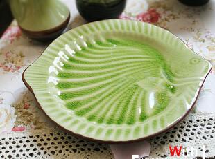 【美式田园 】--冰裂水晶釉.和风系列 陶瓷餐具盘 陶瓷鱼型盘子,盘碟,