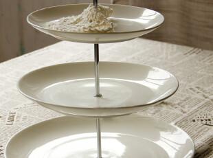 外贸陶瓷餐具 三层蛋糕盘 零食三层盘 陶瓷果盘 摆盘 水果盘 盘子,盘碟,