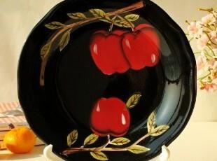 Le gourmet chef餐具/罗莉安法式黑色彩陶装饰盘/点心盘/冷菜盘,盘碟,