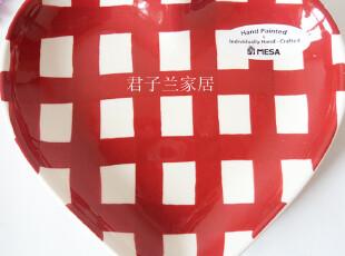 微瑕特价外贸陶瓷 欧美原单 mesa home超可爱红色格子 心形创意盘,盘碟,