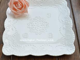 外贸出口陶瓷 蕾丝方盘 蛋糕盘 方型盘子 白色蕾丝蛋糕浅盘 超美,盘碟,