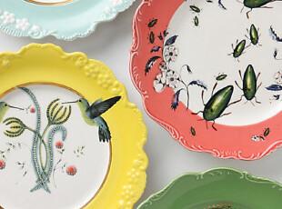 【纽约下城公园】神奇的自然界 花边骨瓷盘(四种样式可选),盘碟,