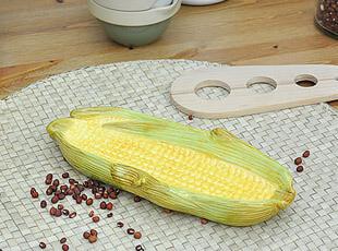 外贸尾单 手绘陶瓷餐具 玉米盘 零食盘子 瓷盘 创意 小碟子 味碟,盘碟,