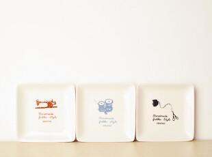 Zakka杂货 陶瓷 日用  复古缝纫 精致小方盘 森女 小清新 三款选,盘碟,