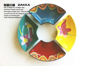 【有爱小铺】杂货 zakka 家居 手绘风格 彩色陶瓷餐盘 汤盘 6色,盘碟,