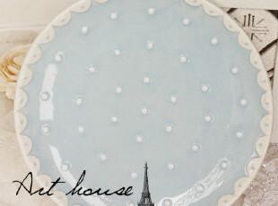 出口欧美陶瓷波点西餐盘 牛排盘 蛋糕盘 盘子 外贸出品余单,盘碟,