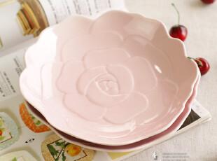 独家 粉嫩甜心派&创意浮雕玫瑰心事 陶瓷餐具/甜点盘/盘子,盘碟,