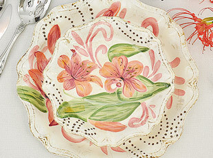 外贸手绘 陶瓷复古百合波纹盘 盘子 餐盘 汤盘 菜盘 装饰盘,盘碟,