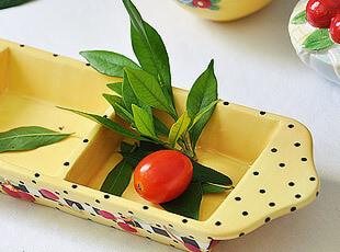 小樱桃 外贸陶瓷手绘 三格盘 零食盘 盘子 坚果盘,盘碟,