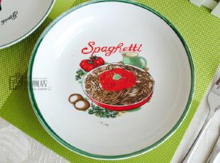 微疵8英寸|意大利面盘|西餐盘|装饰盘|手绘餐具|外贸出口尾货,盘碟,